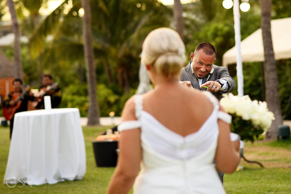 Naughty Fun Groom Loving Bride Opening Reception Secrets Maroma Beach wedding Playa del Carmen