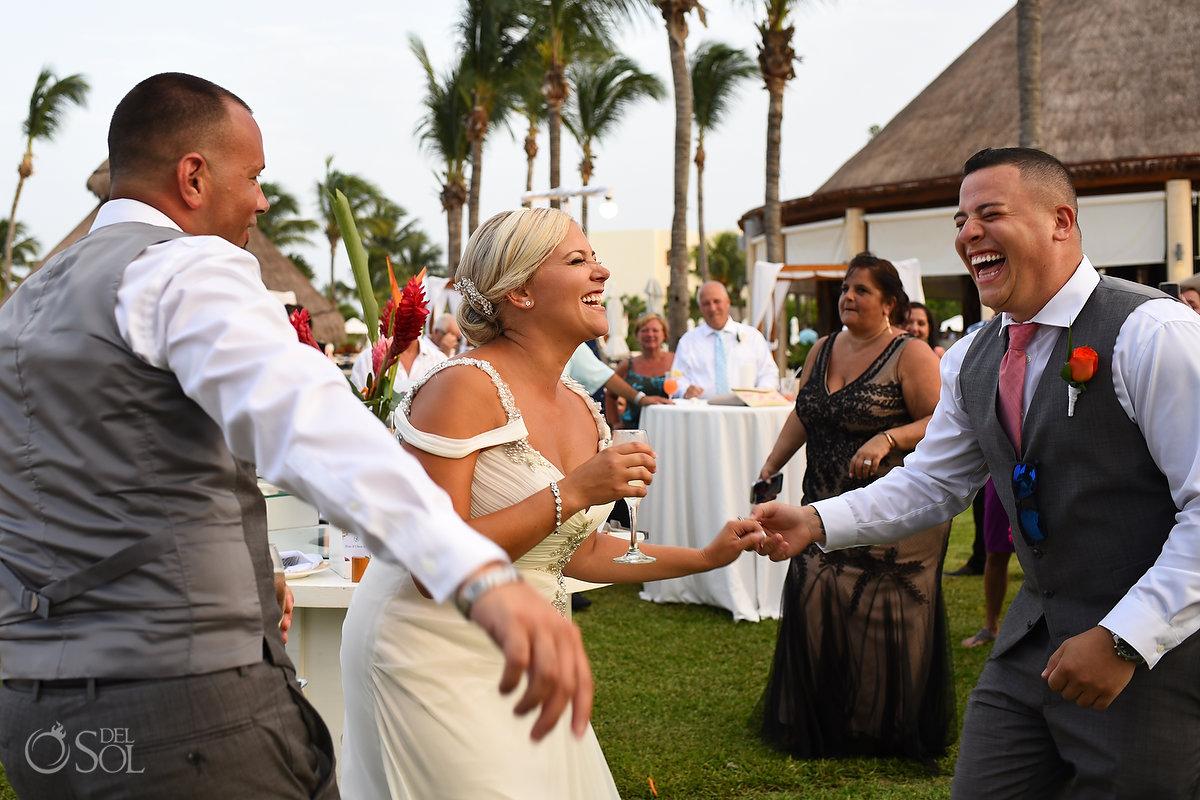 Bride Laughter Happy Moment Documentary Photography Opening Reception Secrets Maroma Beach wedding Playa del Carmen