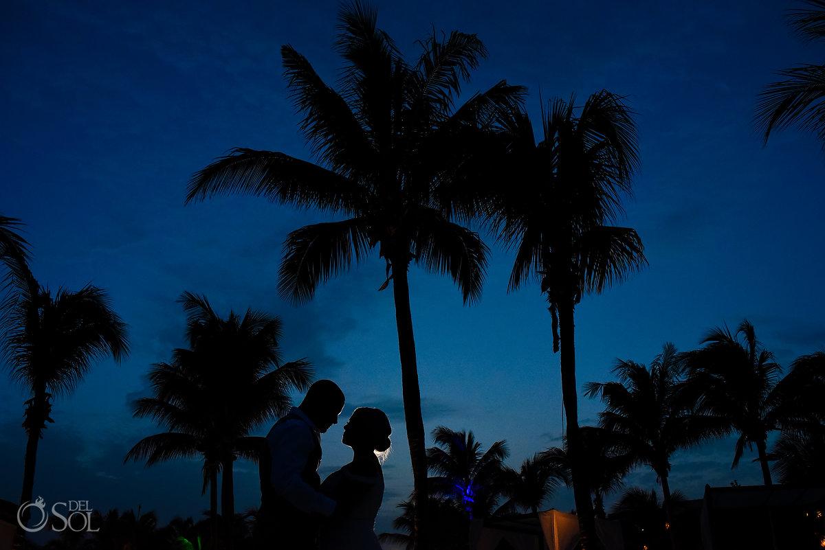 Newlyweds Silhouette Portrait Blue Sky Secrets Maroma Beach Wedding Playa del Carmen Mexico Palm Tree
