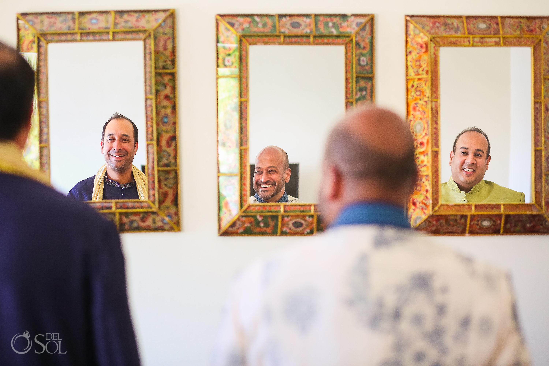 Dreams Tulum wedding groomsmen mirror reflection