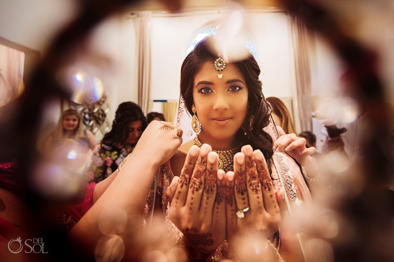 Indian Bride getting ready Dreams Tulum Wedding