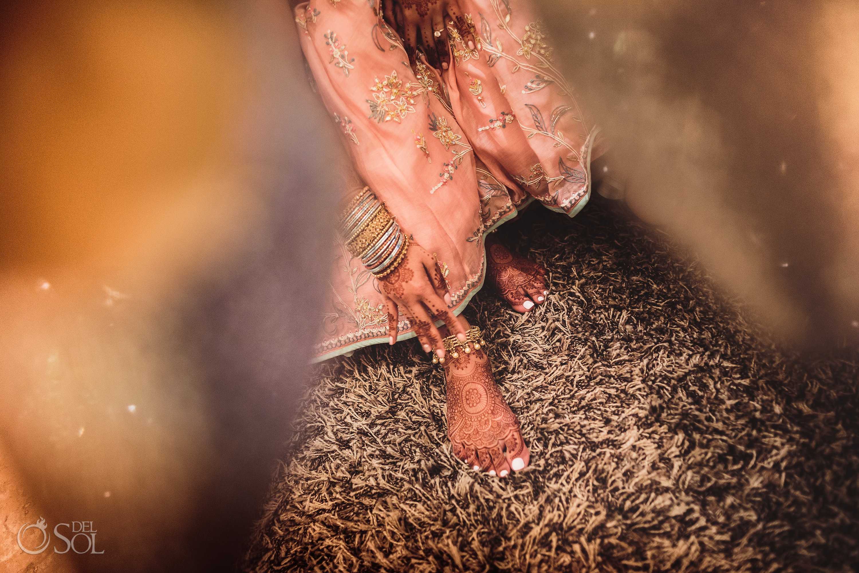Bridal feet Mehndi Dreams Tulum Indian Wedding