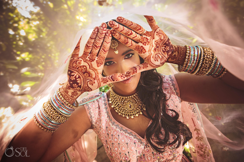 Dreams Tulum Indian Wedding Bridal portraits mehndi design Indian Wedding