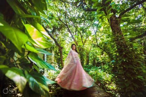 Indian bride spinning wedding dress portraits Dreams Tulum