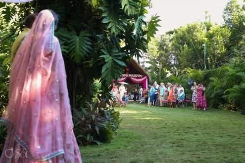 Indian wedding ceremony bride entrance Hidden Garden Dreams Tulum