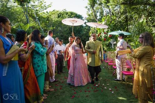 Hindu bride ceremony entrance Dreams Tulum Indian Wedding
