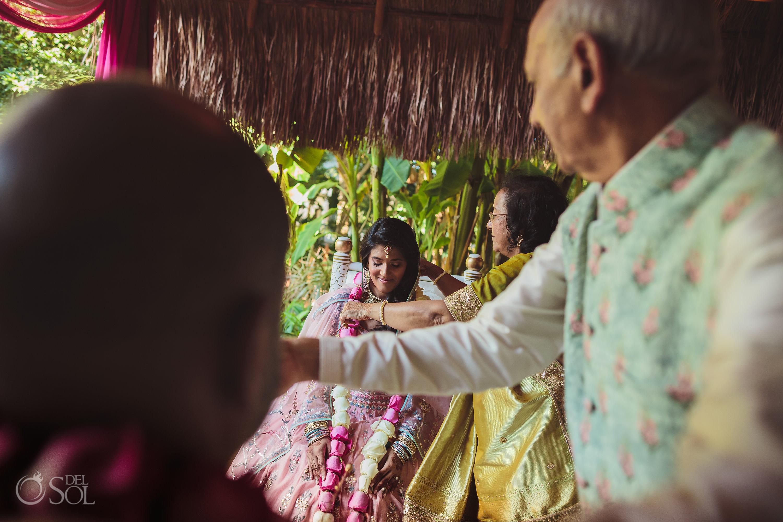 Indian Wedding rose garlands ceremony