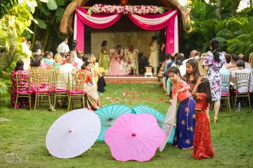 Indian wedding ceremony playful girls Dreams Tulum