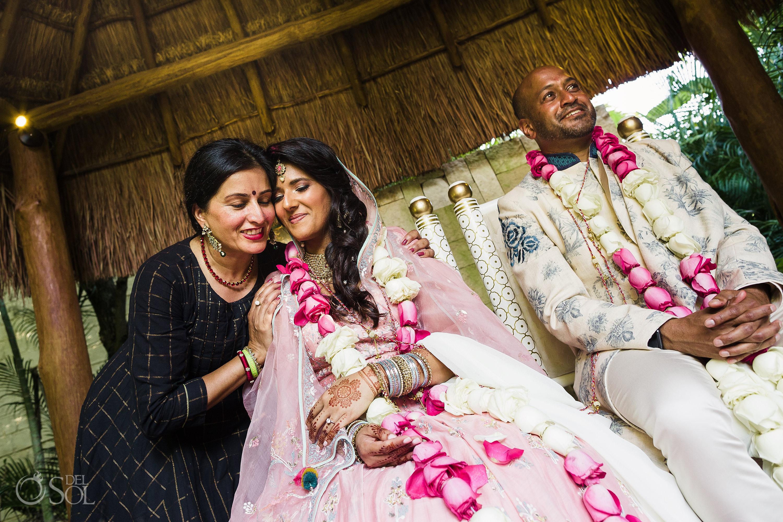 Dreams Tulum Indian wedding ceremony bride and bridesmaids