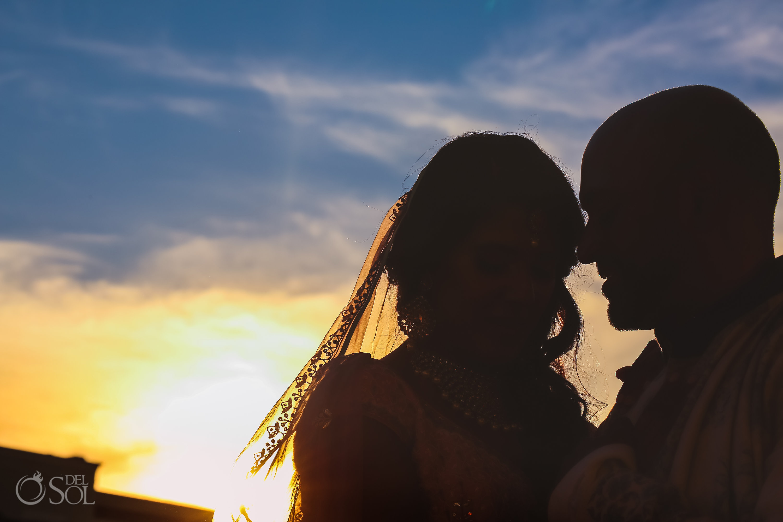 Dreams Tulum Indian Wedding couple silhouette