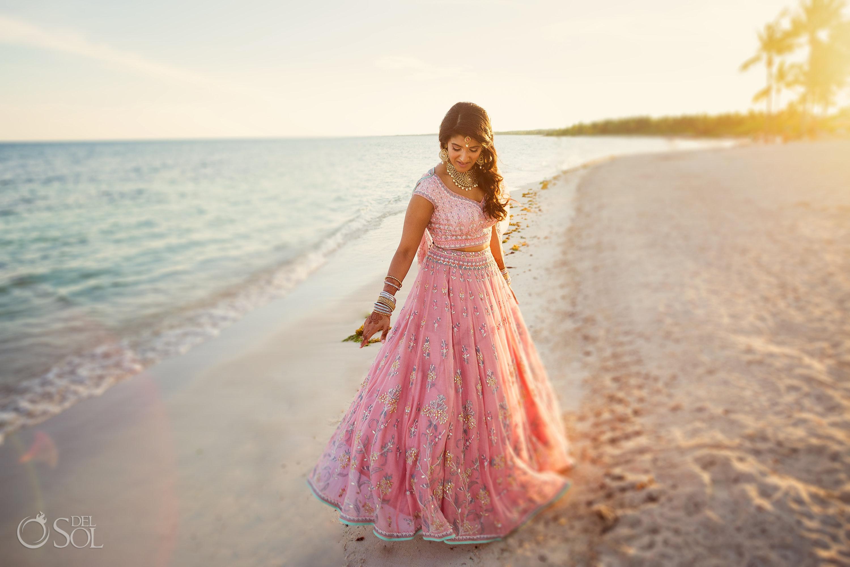Indian wedding dress Tulum Beach bride portraits