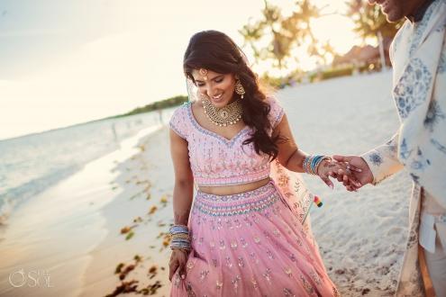 Indian bride beach photos Dreams Tulum