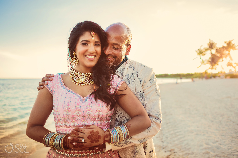Indian couple beach portraits Dreams Tulum wedding
