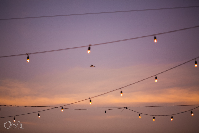 outdoors string light Dreams Tulum wedding sunset reception