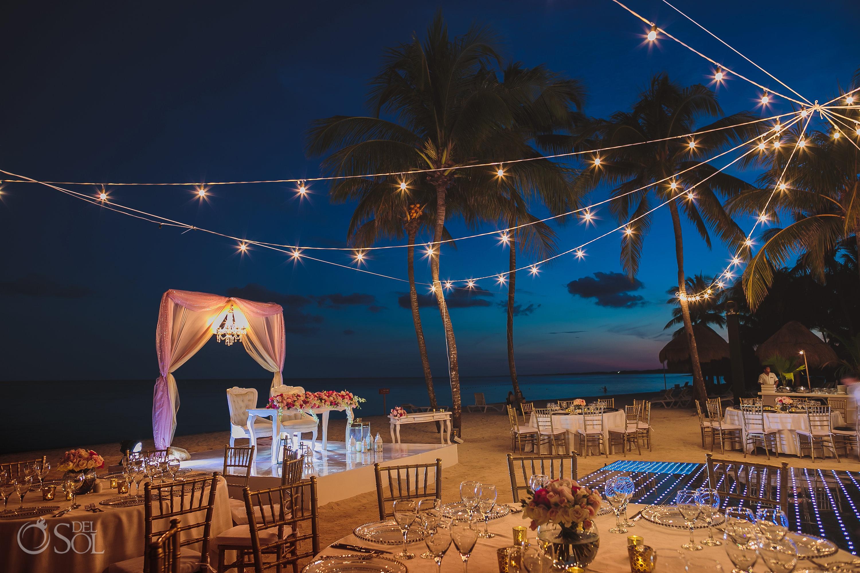 Dreams Tulum night wedding reception set up