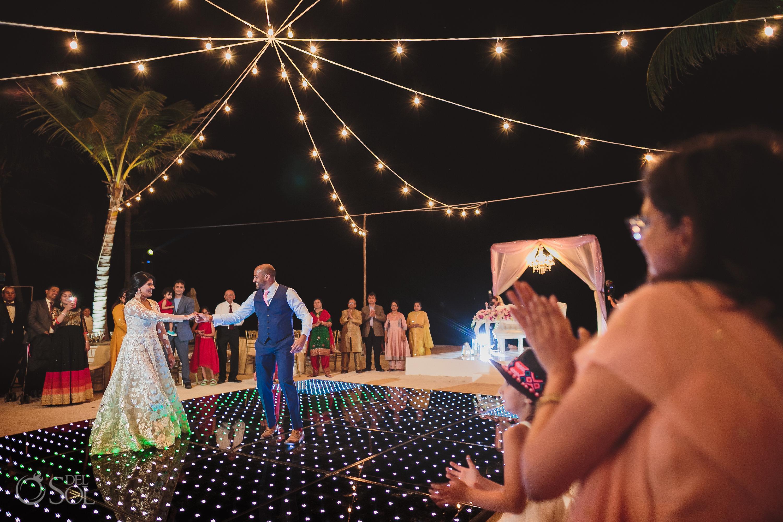 Couple's first dance Indian wedding reception Dreams Tulum