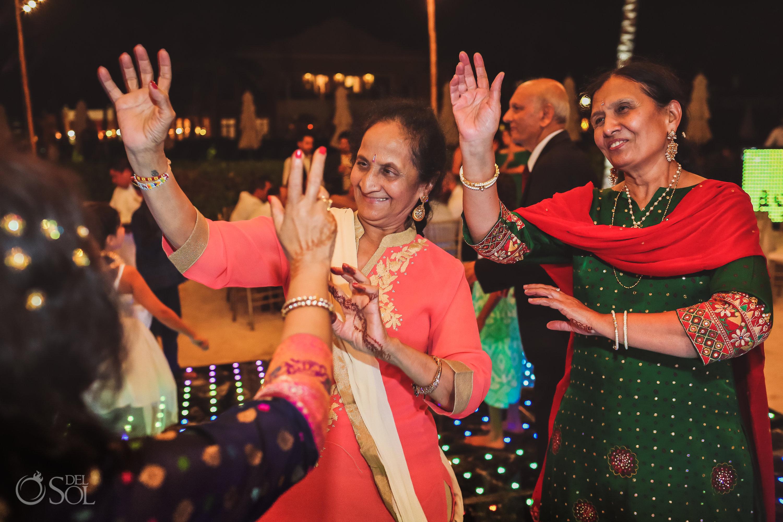 Indian wedding party reception ladies dancing