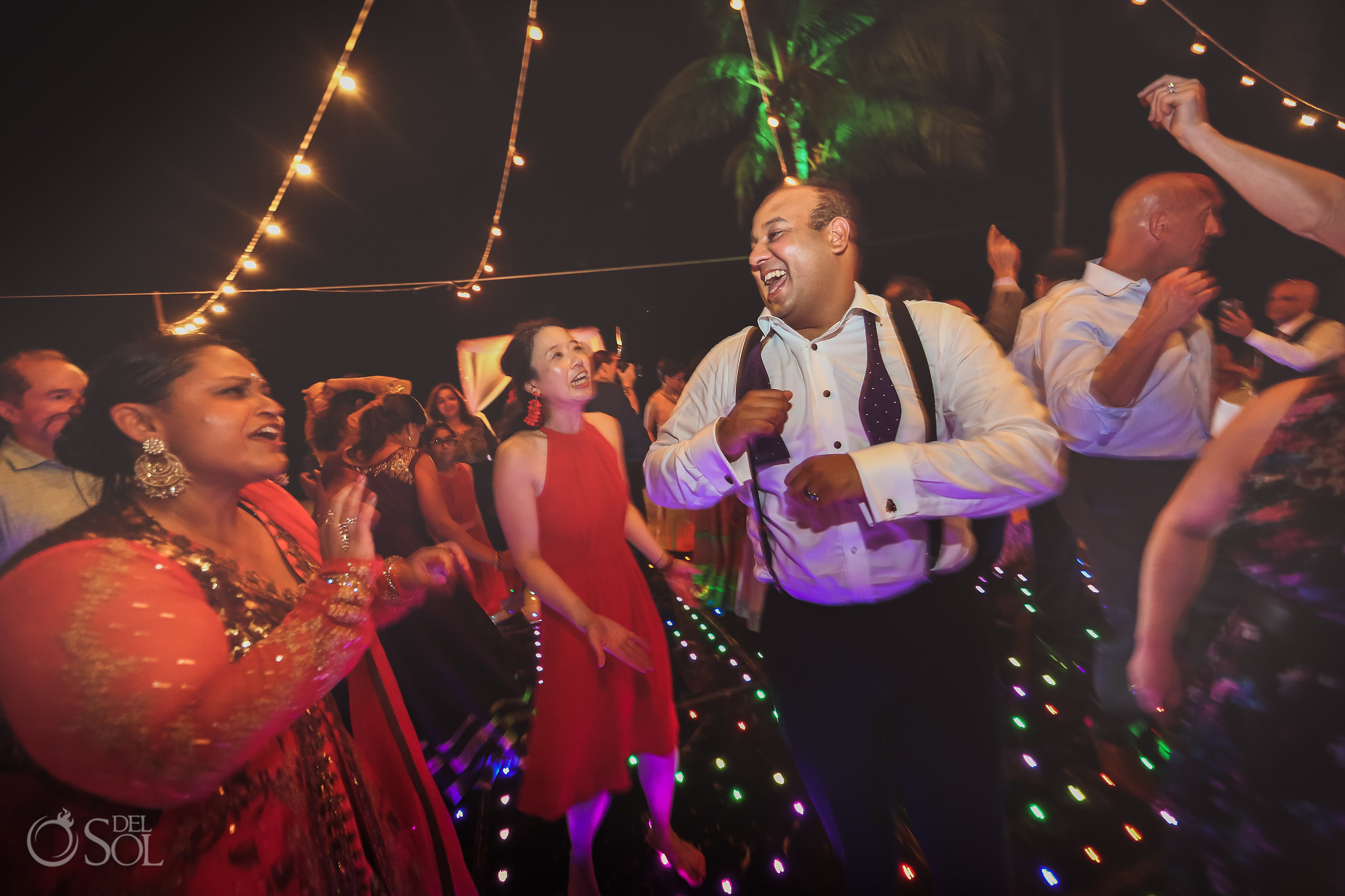 Dreams Tulum Indian wedding guests dancing