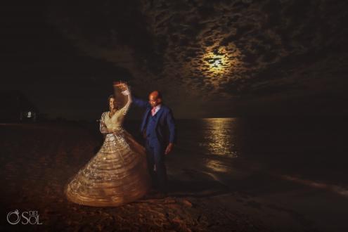 Beach night dance bride and groom Dreams Tulum Indian Wedding