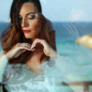 Bride Red Lips make up Getting Ready Documentary Reflection Photography Riviera Maya Blue Sea Now Jade Resort