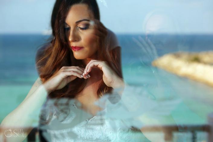 Bride Red Lips make up Getting Ready Documentary Reflection Photography Riviera Maya Blue Sea Now Jade Resort