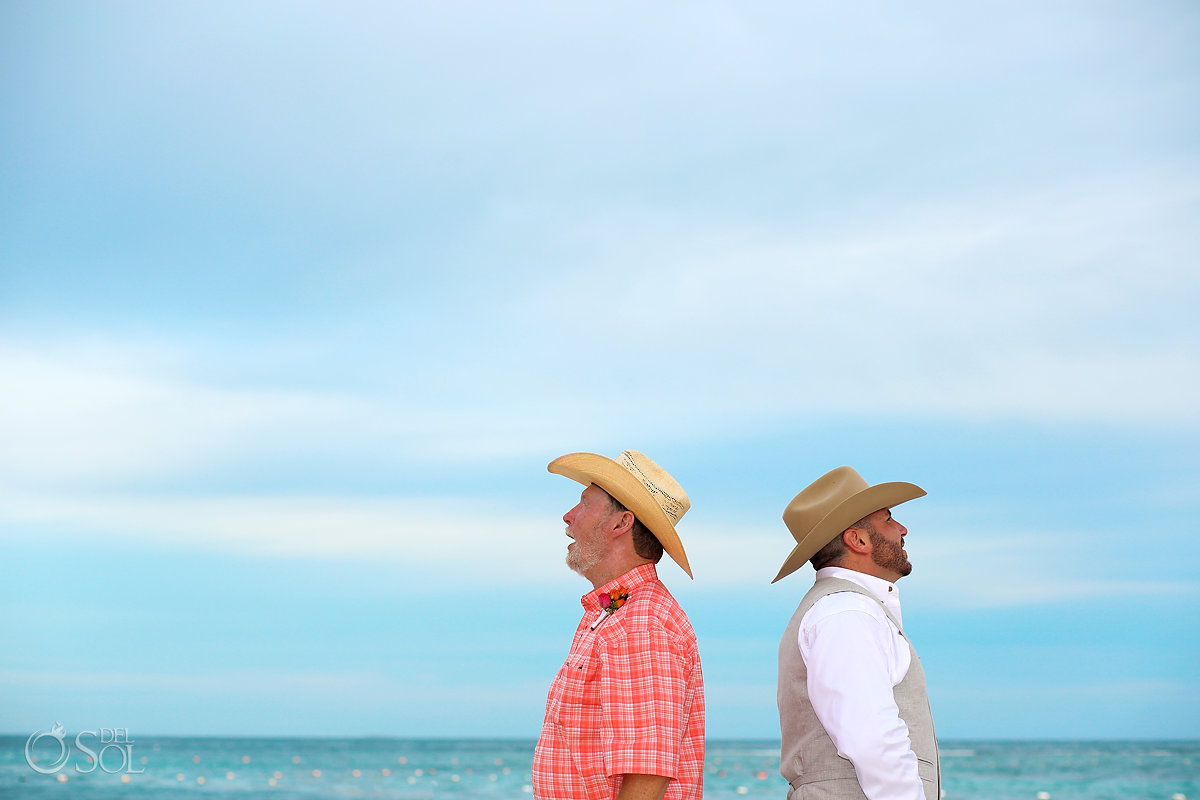 groom FOB wearing cowboy hats Secrets Akumal Elopement Riviera Maya Mexico