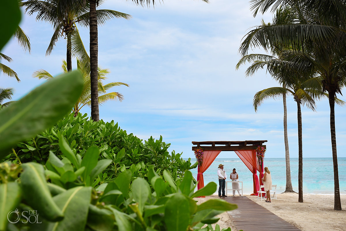 Secrets Akumal Elopement set up red gazebo Riviera Maya Mexico