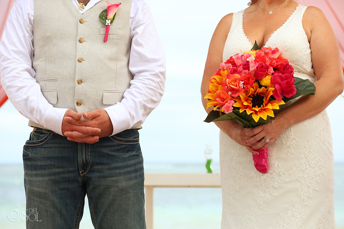 bride groom hands bouquet details Secrets Akumal Elopement Riviera Maya Mexico