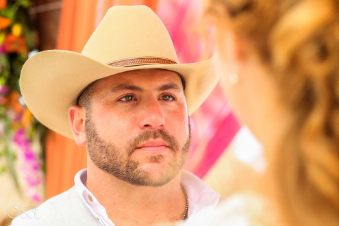 groom wearing cowboy hat crying tears Secrets Akumal Elopement Riviera Maya Mexico
