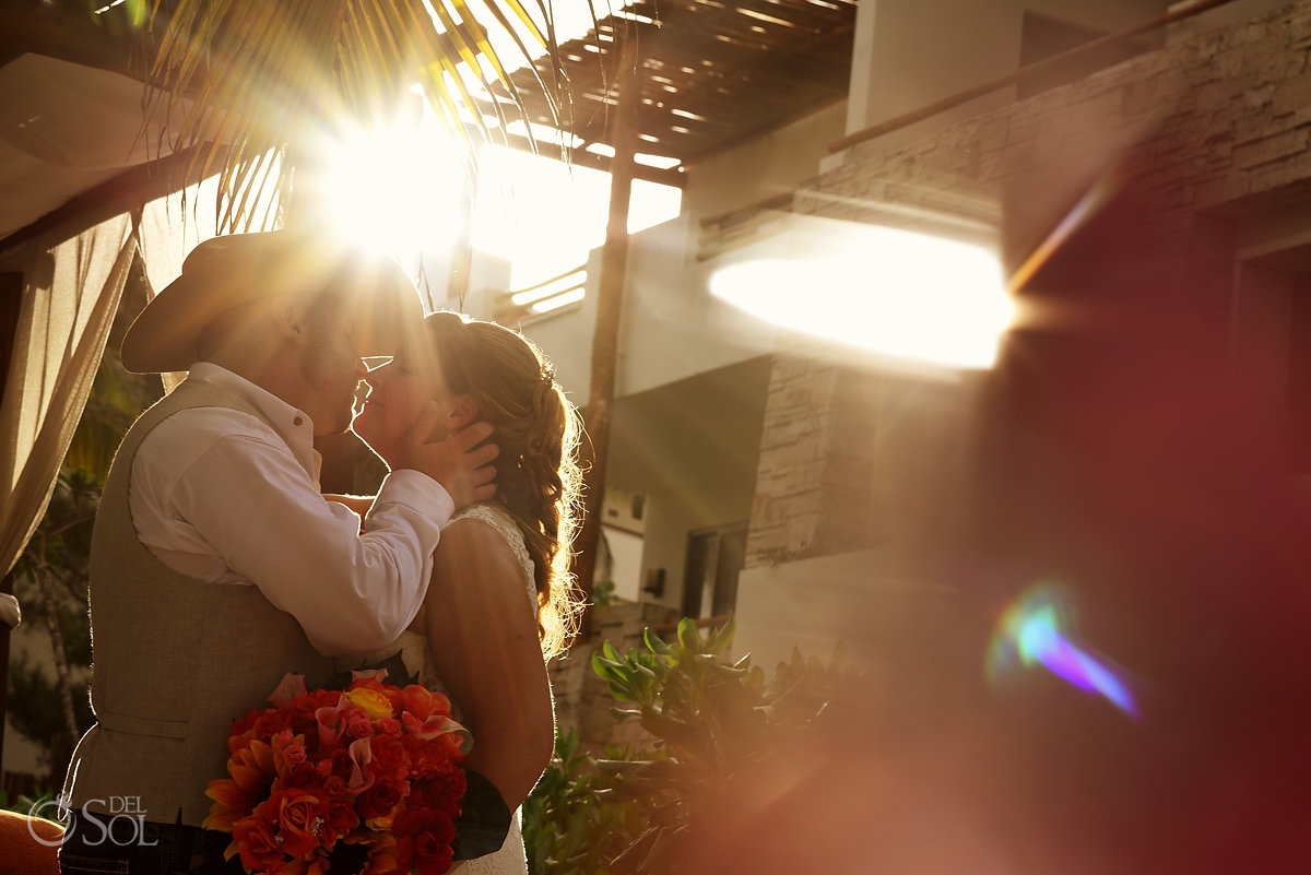 #TravelForLove golden hour wedding portrait Secrets Akumal Elopement Riviera Maya Mexico