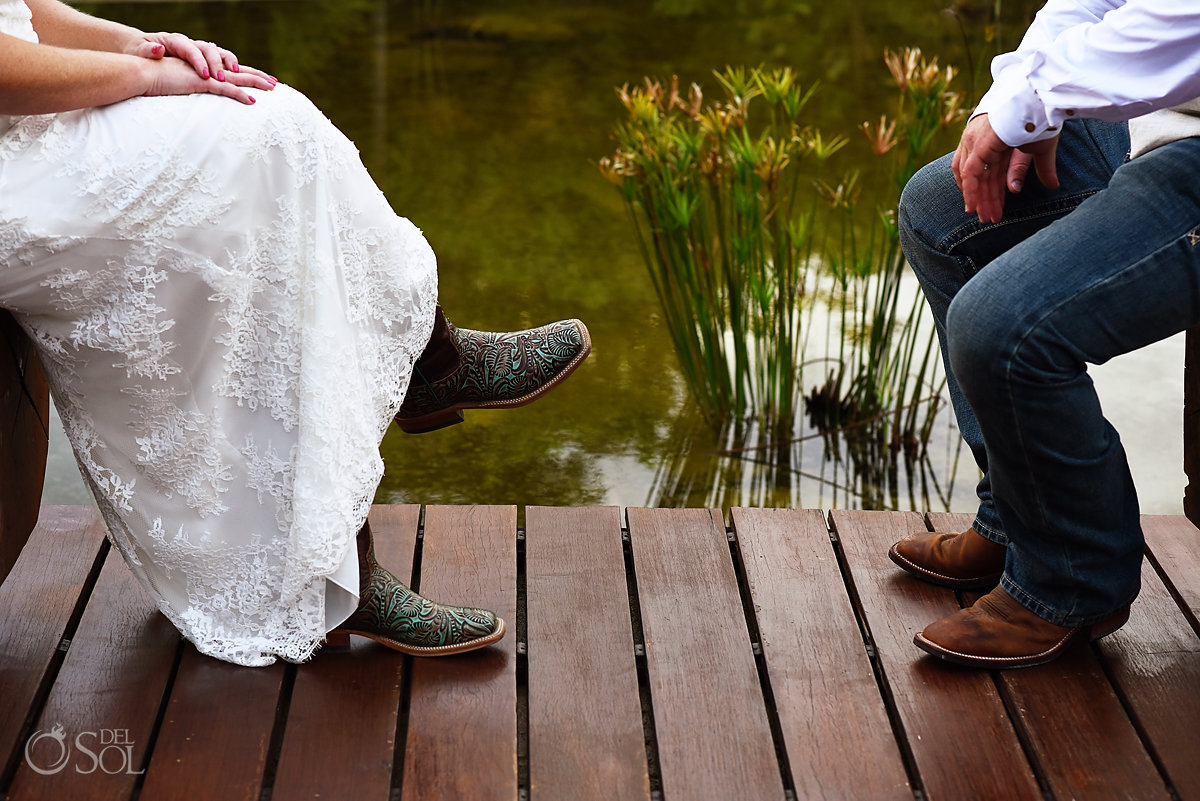 fun wedding photo ideas cowboy boots Secrets Akumal Elopement Riviera Maya Mexico