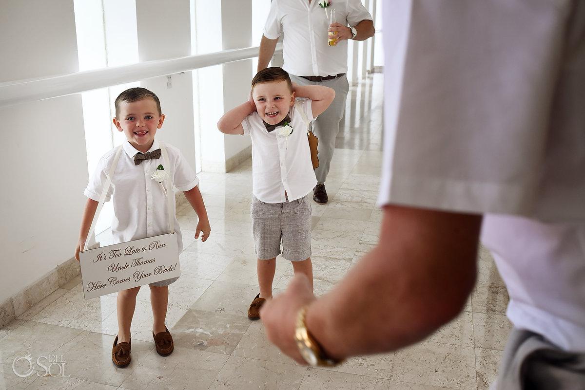 Cute Kids Wedding Party Grey Bermuda Outfit Bow Tie Dreams Sands Resort Hall