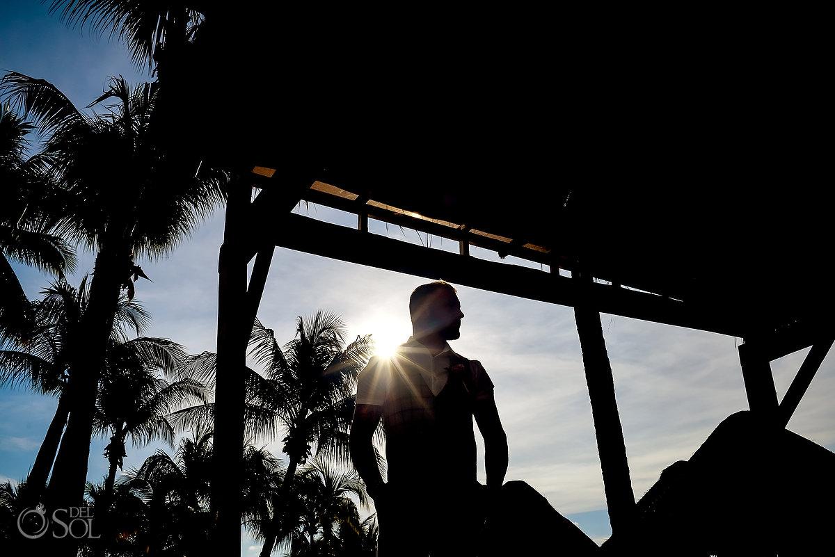 Groom Portrait Silhouette Sun Reflection Dreams Sands Wedding Destination Cancun Mexico