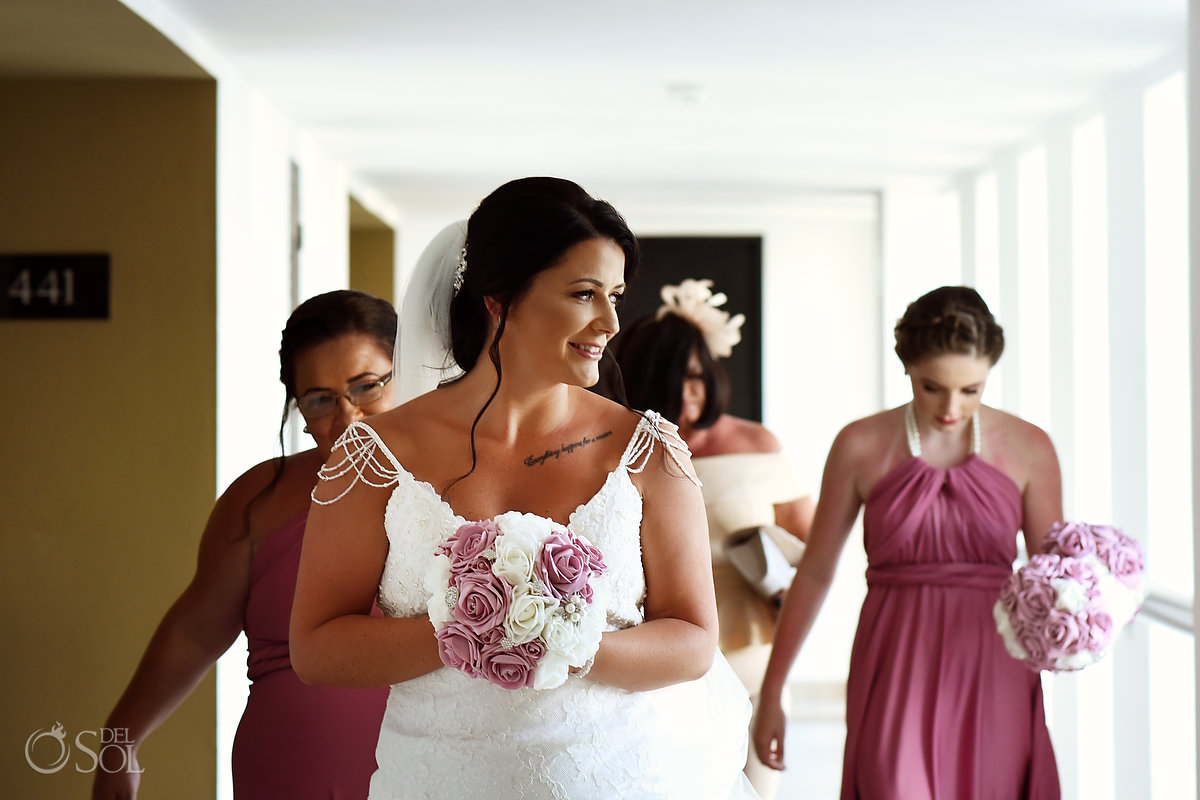 Mon Cheri Bridals Long Embroidery Dress Long Tule Veil Dreams Sands Cancun Hall Wedding Party