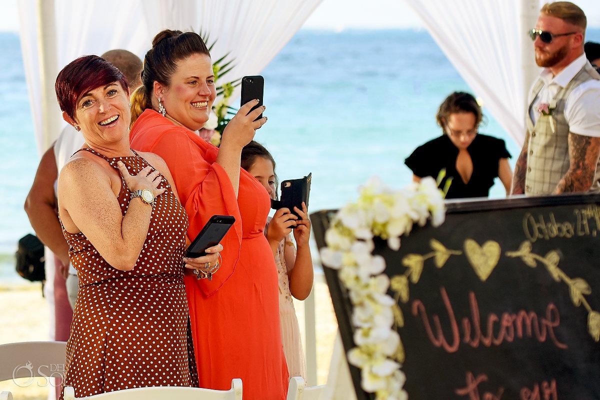 Emotional Guest Beach Wedding Altar Outdoors Mexican Caribbean Blue Ocean Dreams Sands Cancun