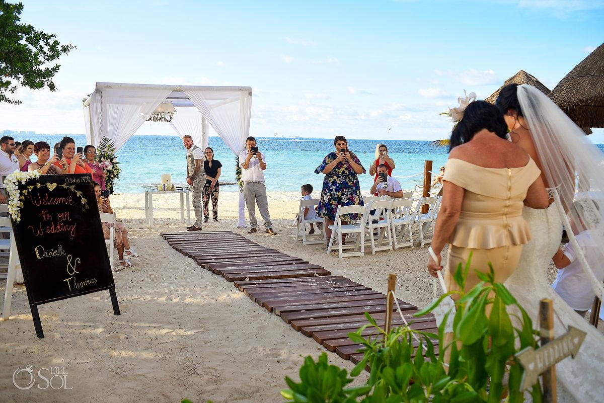 Groom First Look Dreams Sands Beach Shore Wedding Decoration Cancun Mexico Mon Cheri Bridals Long Embroidery Dress Long Tule Veil