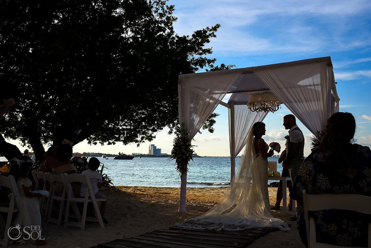 Dreams Sands Beach Shore Wedding Decoration Cancun Mexico Mon Cheri Bridals Long Embroidery Dress Long Tule Veil
