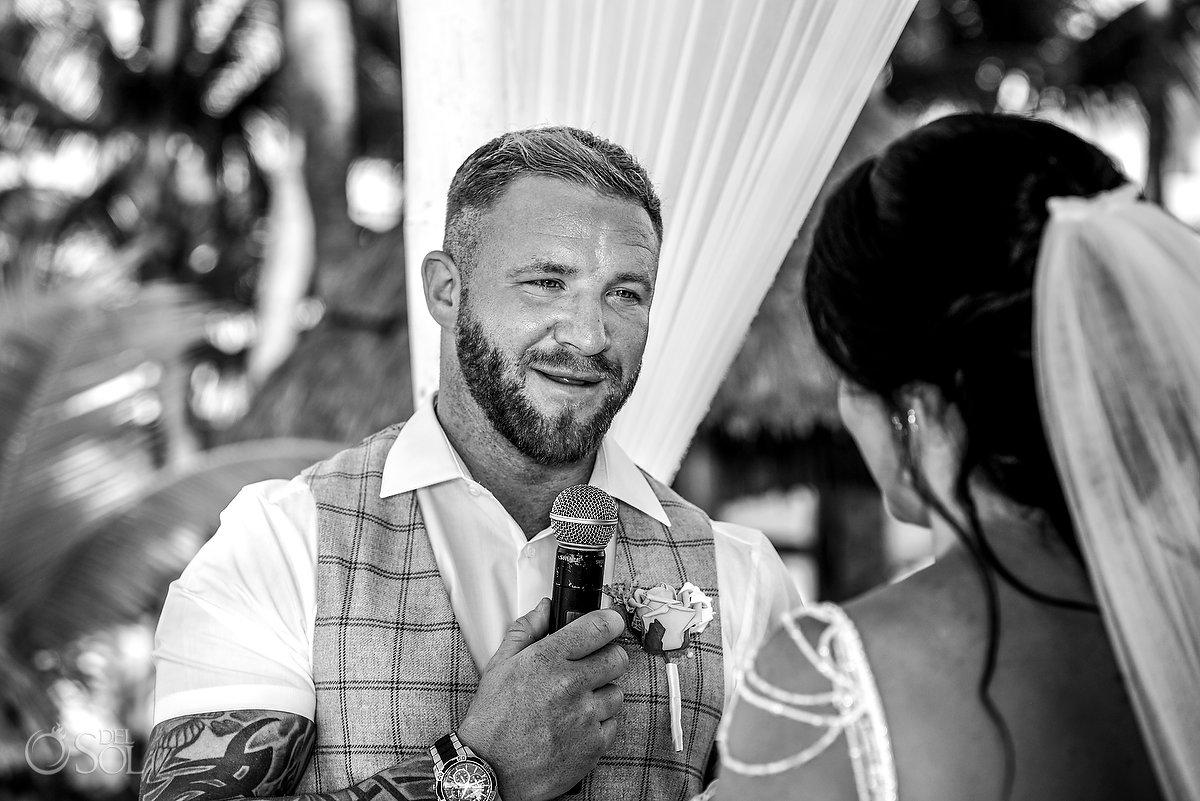 Sweet Groom Vows Black White Portrait River Island Men Clothing Dreams Sands Wedding Cancun Mexico