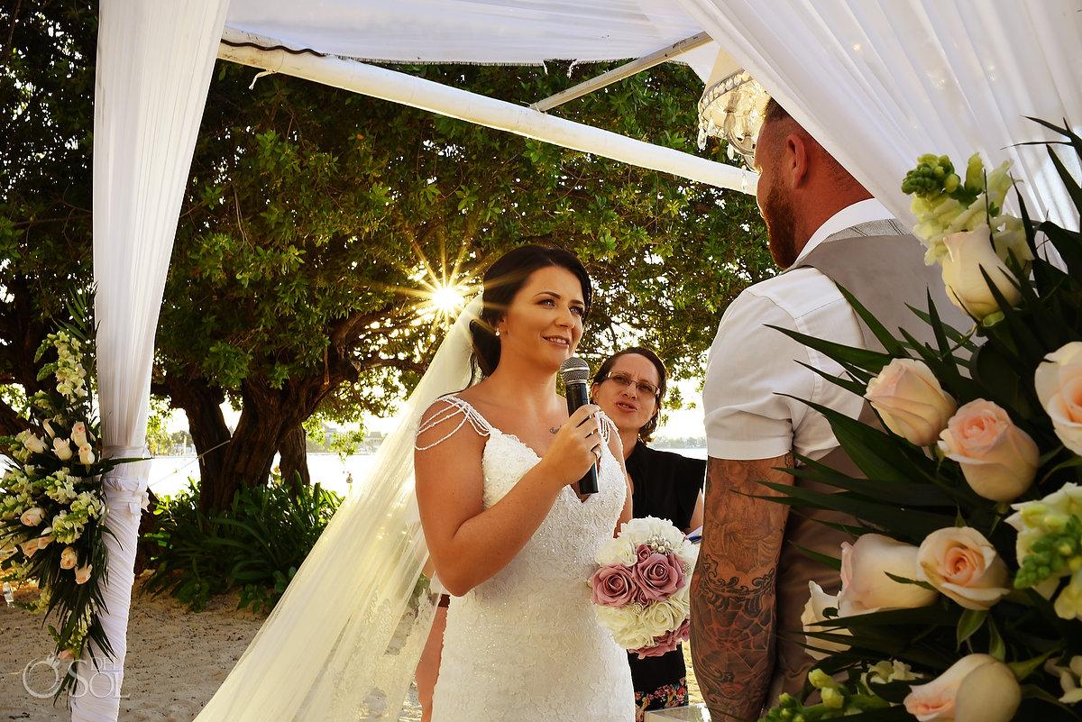 Brides Vows Sun Flare Dreams Sands Beach Shore Wedding Decoration Cancun Mexico Mon Cheri Bridals Long Embroidery Dress Long Tule Veil