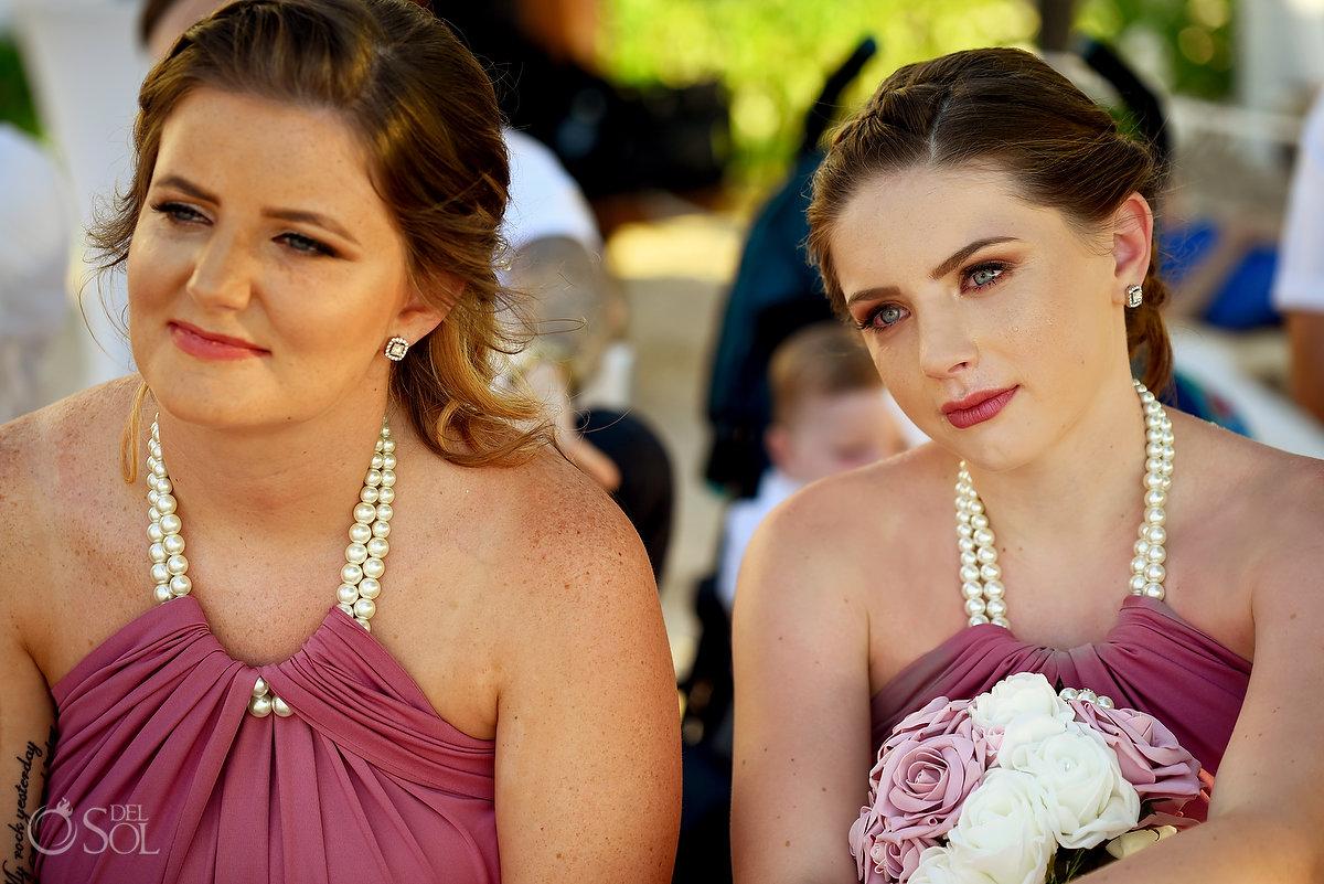 Emotional Bride Party Reactions Portrait Dreams Sands Cancun Plum Pearl Wedding Dresses