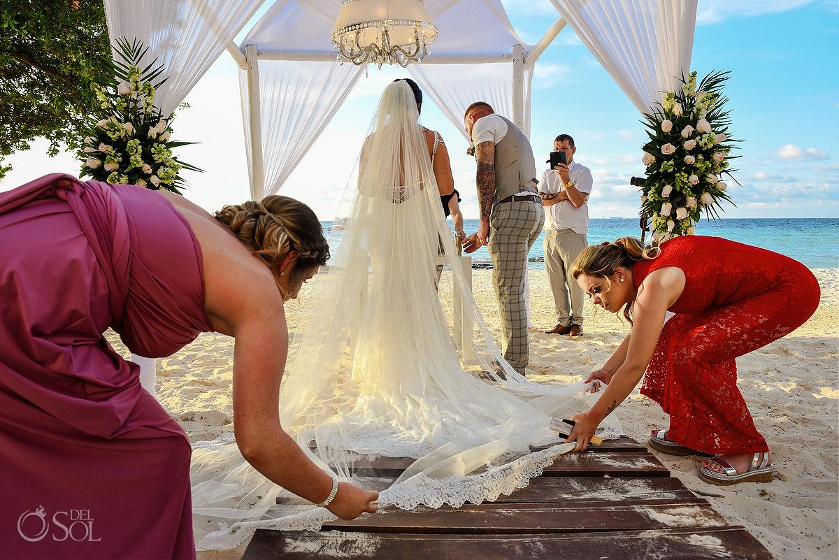 Dreams Sands Beach Shore Wedding Decoration Cancun Mexico Mon Cheri Bridals Long Embroidery Dress Long Tule Veil Documentary Photography