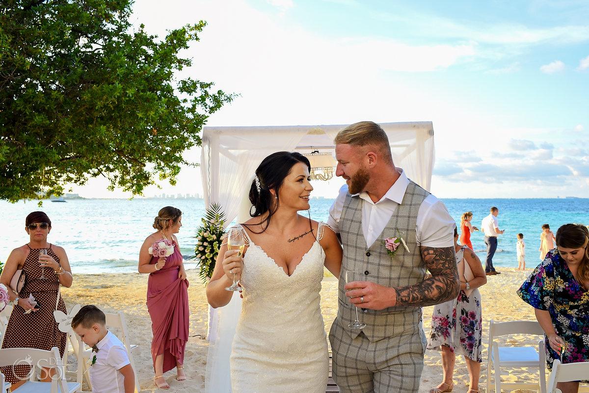 Newlyweds Look Dreams Sands Beach Shore Wedding Decoration Cancun Mexico Mon Cheri Bridals Long Embroidery Dress Long Tule Veil