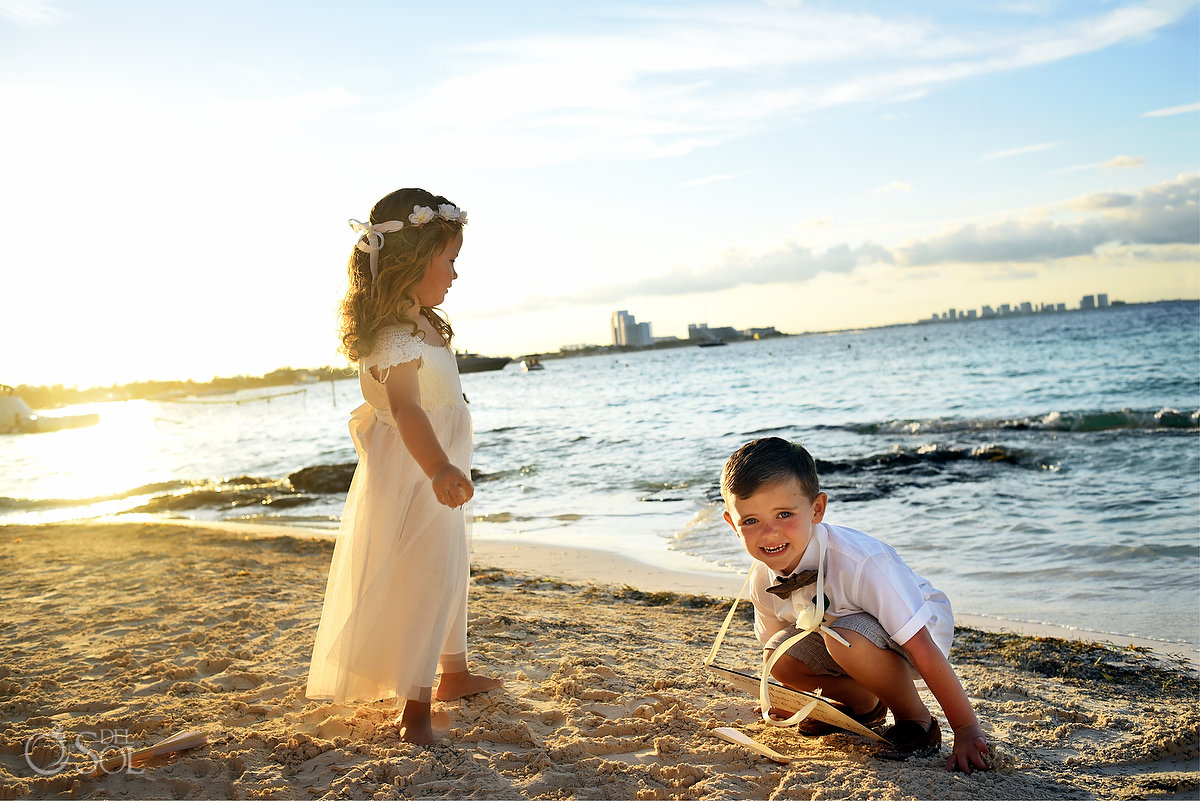 Kids Wedding Party Playing Dreams Sands Beach Shore Destination Cancun Mexico