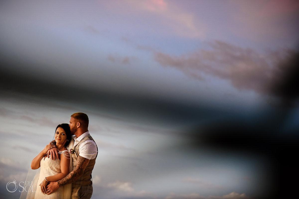 Groom Bride Romantic Beach Shore Sunset Photo session Mon Cheri Bridals Long Embroidery Dress Beautiful Classic Long Tule Veil