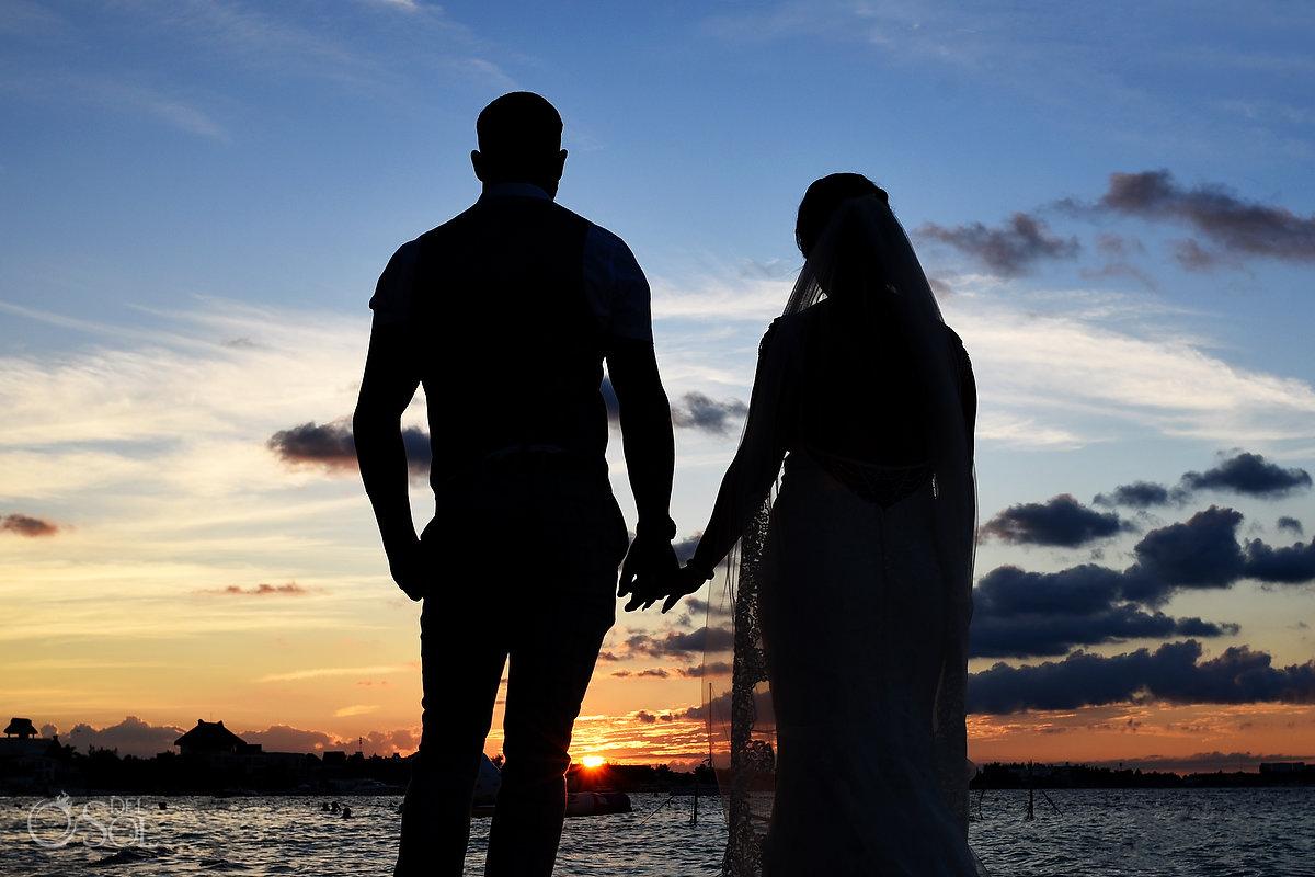 Groom Bride Romantic Beach Shore Sunset Silhouette Photo session Mon Cheri Bridals Long Embroidery Dress Beautiful Classic Long Tule Veil