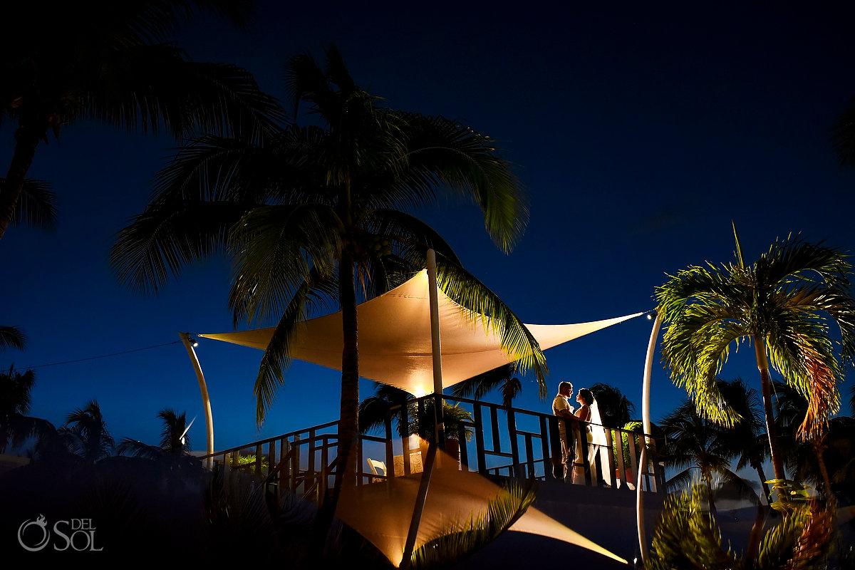 Groom Bride Romantic Sunset Photo Session Dreams Sands Wedding Cancun Mexico
