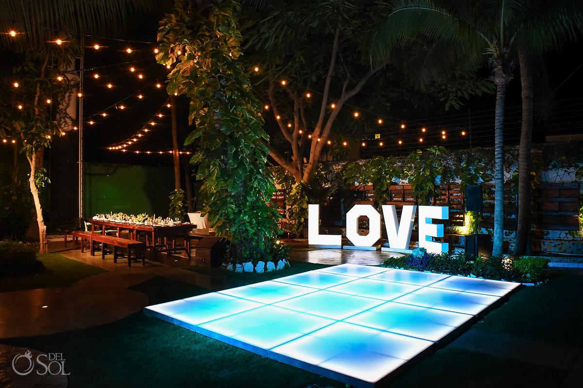 Lovely Wedding Reception garlands light bulbs Decoration Wayak Garden Dreams Sands Cancun Mexico