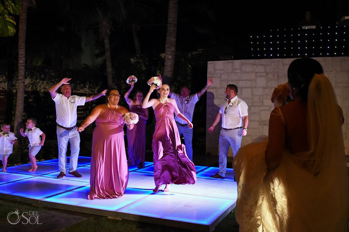 Wedding Party Dance Floor Groom Bride Entrance Beautiful Wedding Reception Decoration Wayak Garden Dreams Sands Cancun Mexico