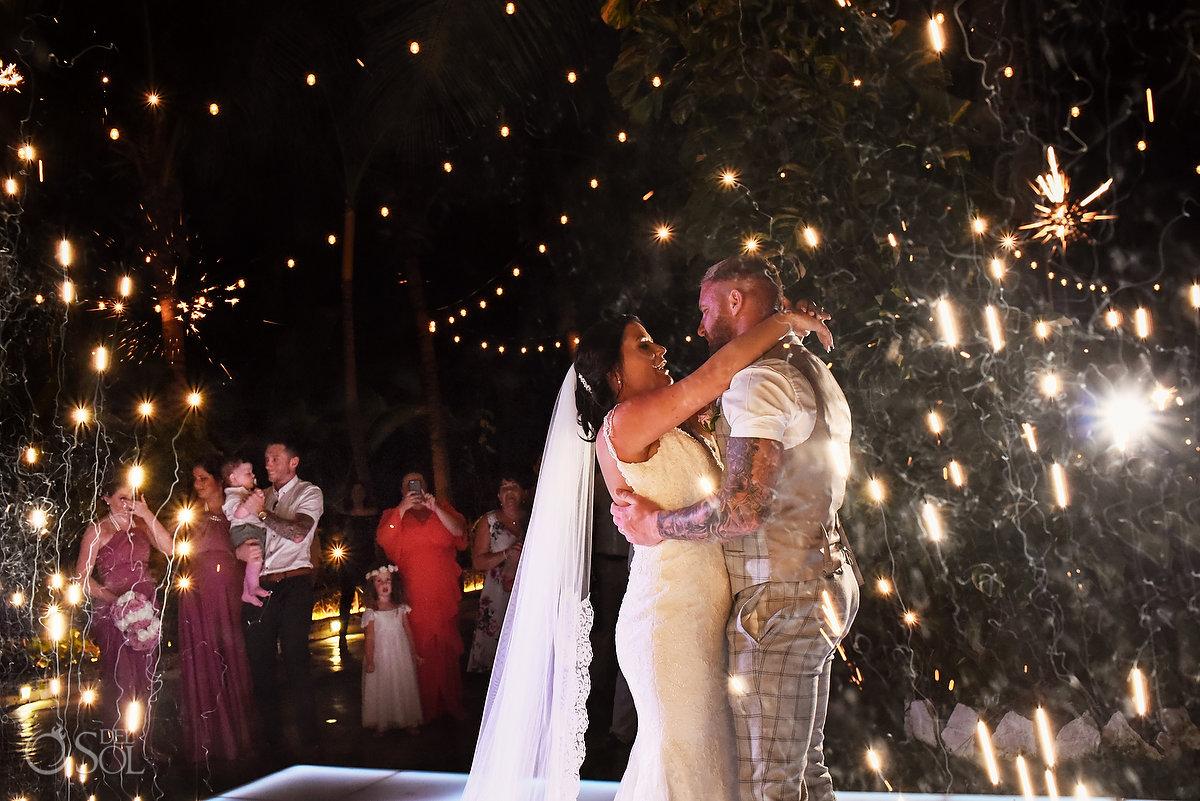 First Dance Newlyweds Fireworks Beautiful Wedding Reception string lights Decoration Wayak Garden Dreams Sands Cancun Mexico