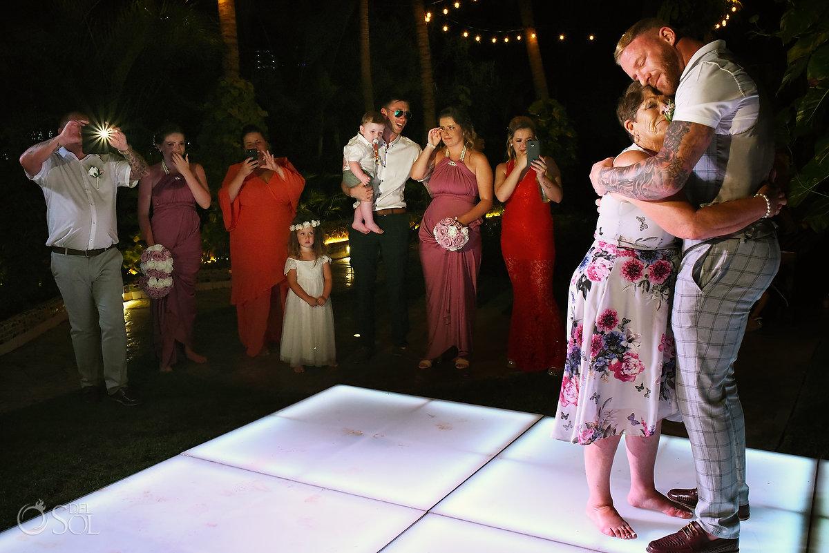 Emotional Groom Mother Dance Wayak Garden Dreams Sands Cancun Wedding